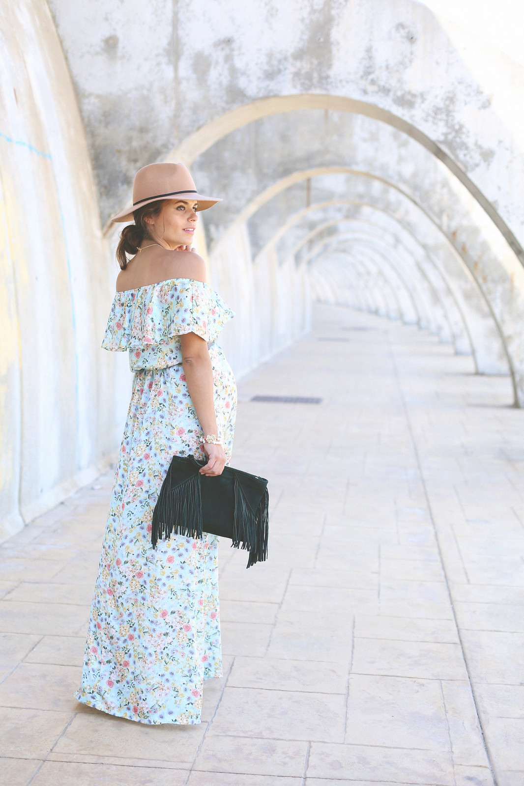 11. floral print long dress - jessie chanes - pregnancy