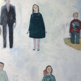 "Detail of work in progress - ""they searched for answers"" 30 inch square oil on wood 