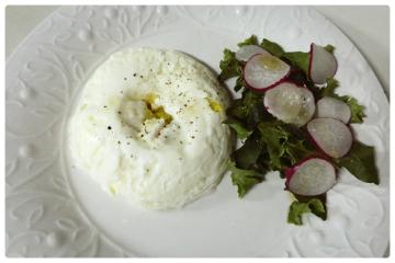 Omelette de claras con queso blanco y poros