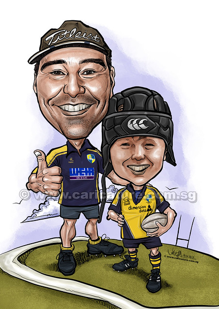 baseball & rugny players digital caricature of father & son (watermarked)