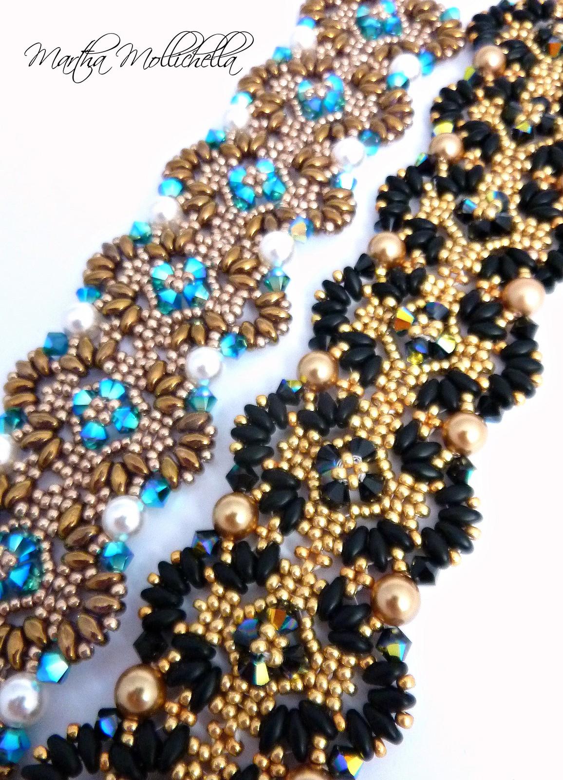 bracciali perline swarovski chiusura placcato oro 24K by Martha Mollichella