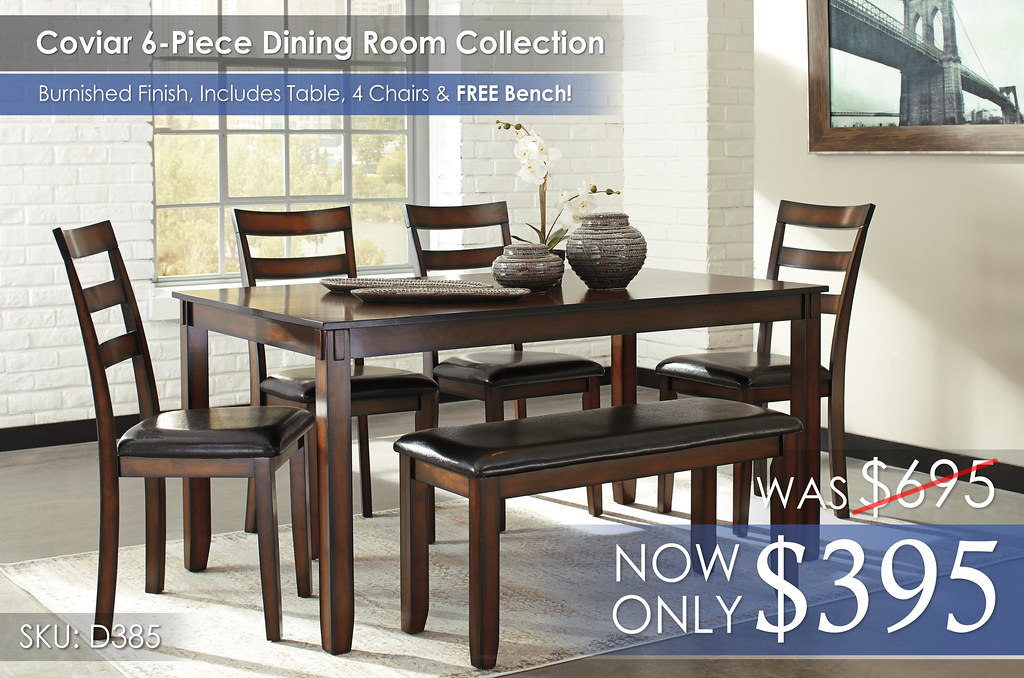 Coviar 6-Piece Dining Room Set wBench D385