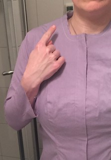 fitting of handsewn self drafted blouse (it doesn't fit well. Too much shaping in too few princess seams. Also needs more wearing ease and lower armhole.)