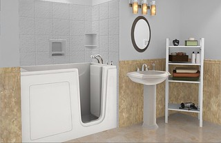 Computer generated image of a bathroom with a walk-in tub and pedestal sink.
