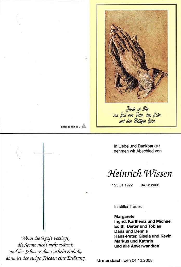 Totenzettel Wissen, Heinrich† 04.12.2008