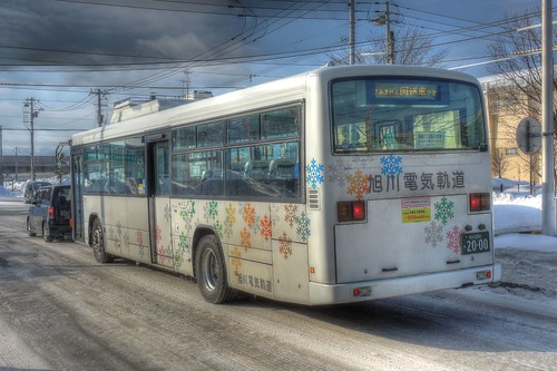 a bus at Asahikawa on JAN 08, 2017