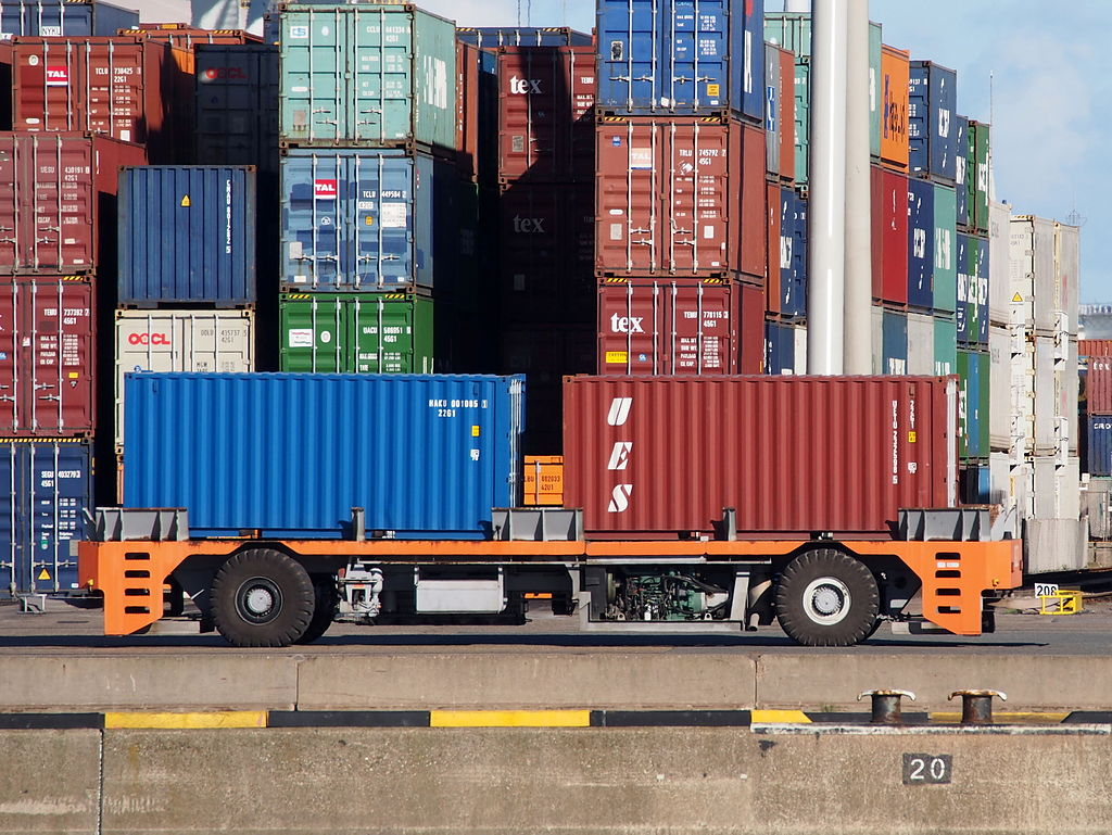 Automated guided vehicle container mover at Port of Rotterdam