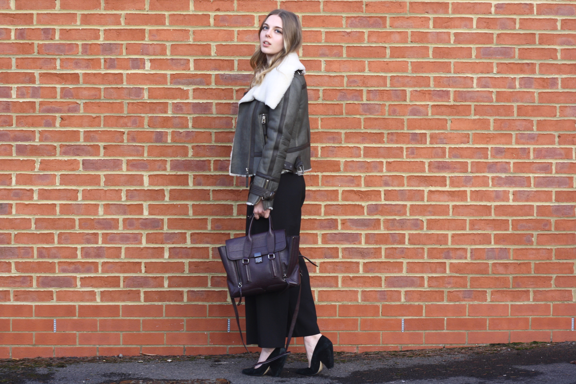 Topshop shearling aviator jacket, 3.1 Phillip Lim Pashli medium and Whistles black suede heels