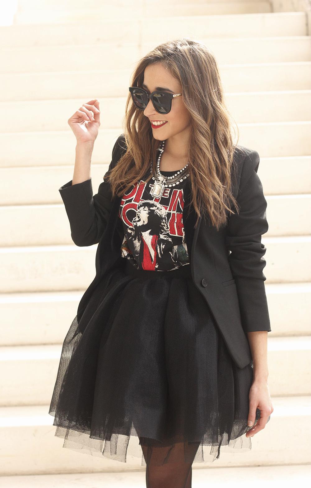 Tulle black skirt blazer maje heels coach bag necklace uterqüe madrid fashion week street style fashion outfit13
