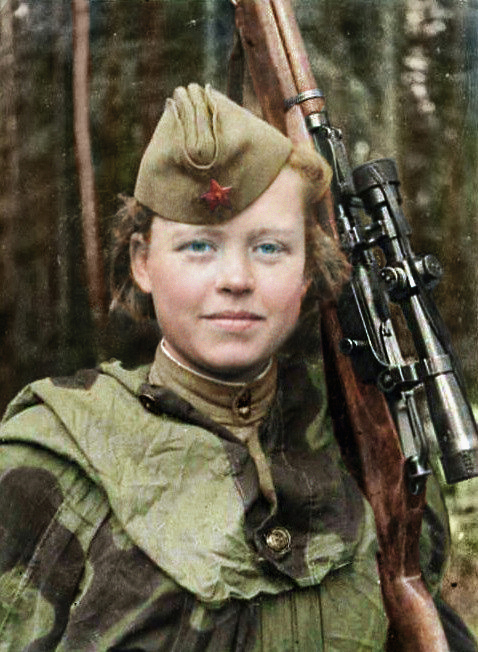 Sniper volunteer Nadezhda Kolesnikova