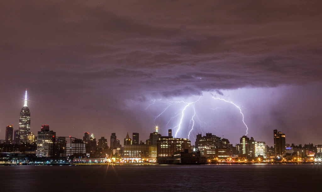 Early Morning Lightning Storm Over New York City
