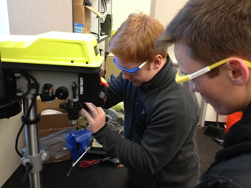Thomas and Alex Modifying a 3D Printer Part