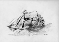 Drawing: study of ship & sea | by Daniele Florio