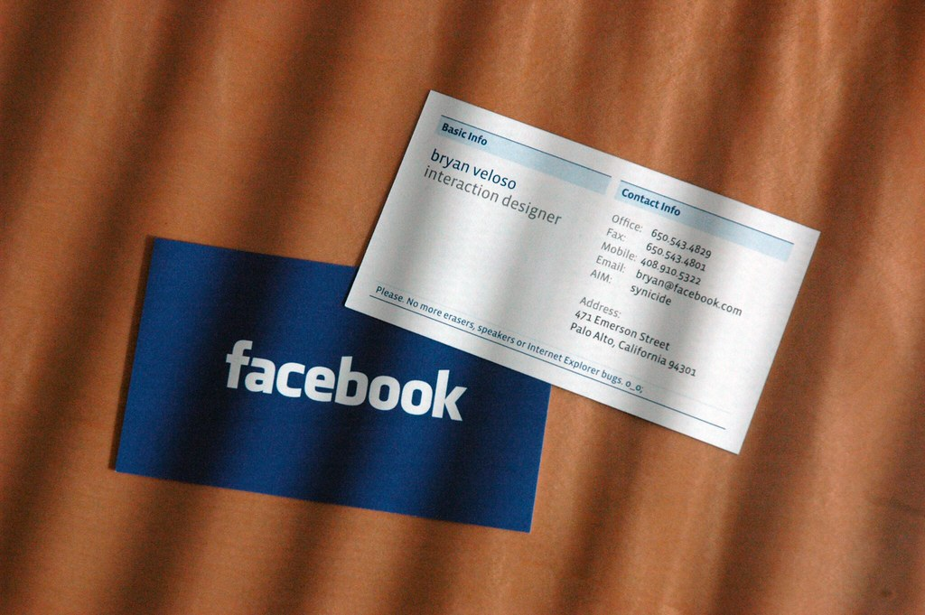 Facebook\'s New Business Cards (View II) | Just another view.… | Flickr