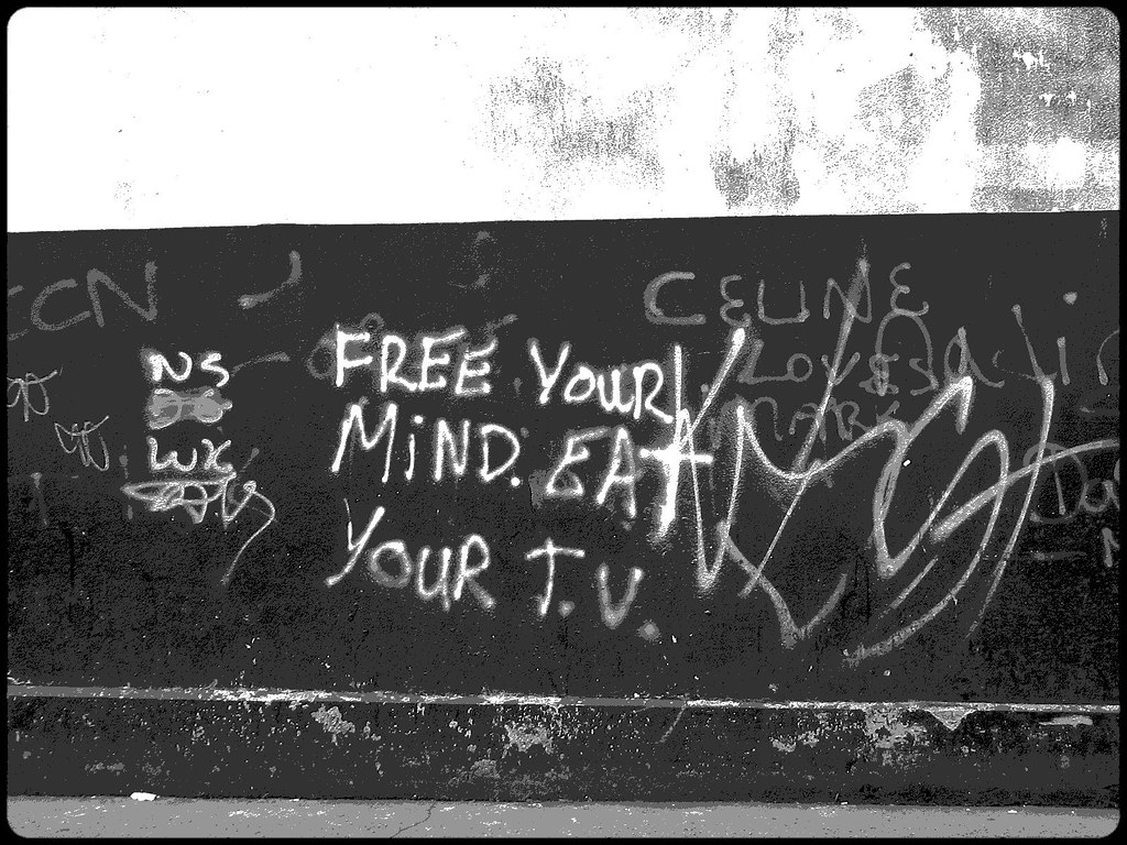 Your graffiti wall -  Free Your Mind Eat Your Tv Graffiti Wall By Sunafterrain