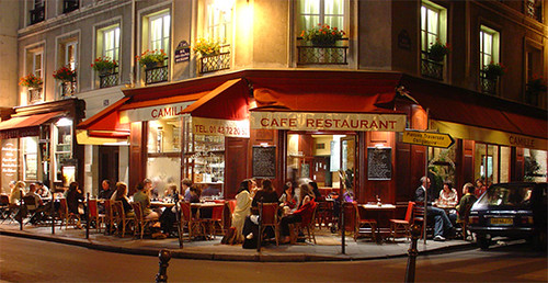 Paris Bistro At Night Marais District A Busy Paris
