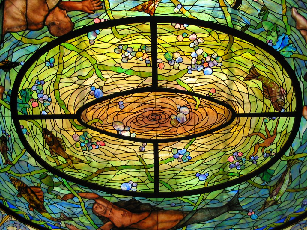 Stained Glass Skylight Above The Desoto Fountain Fordyce