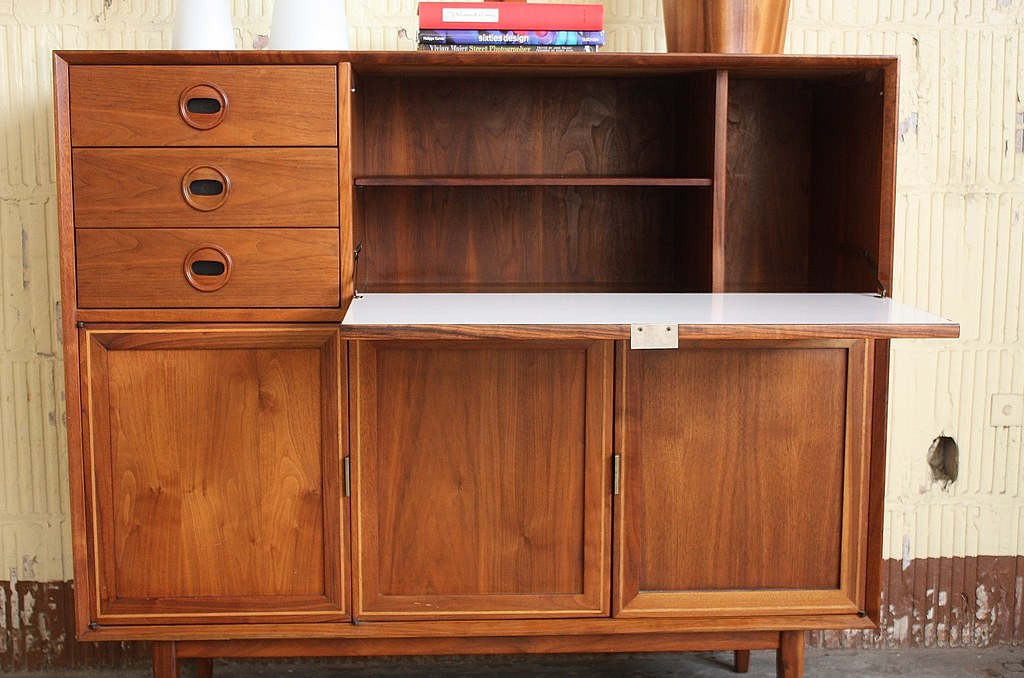 Impressive Midcentury Modern Tall Drop Down Desk Bar Cabin… | Flickr