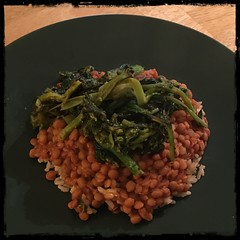 Stewed #lentils and #rapini over rice #homemade #CucinaDelloZio -