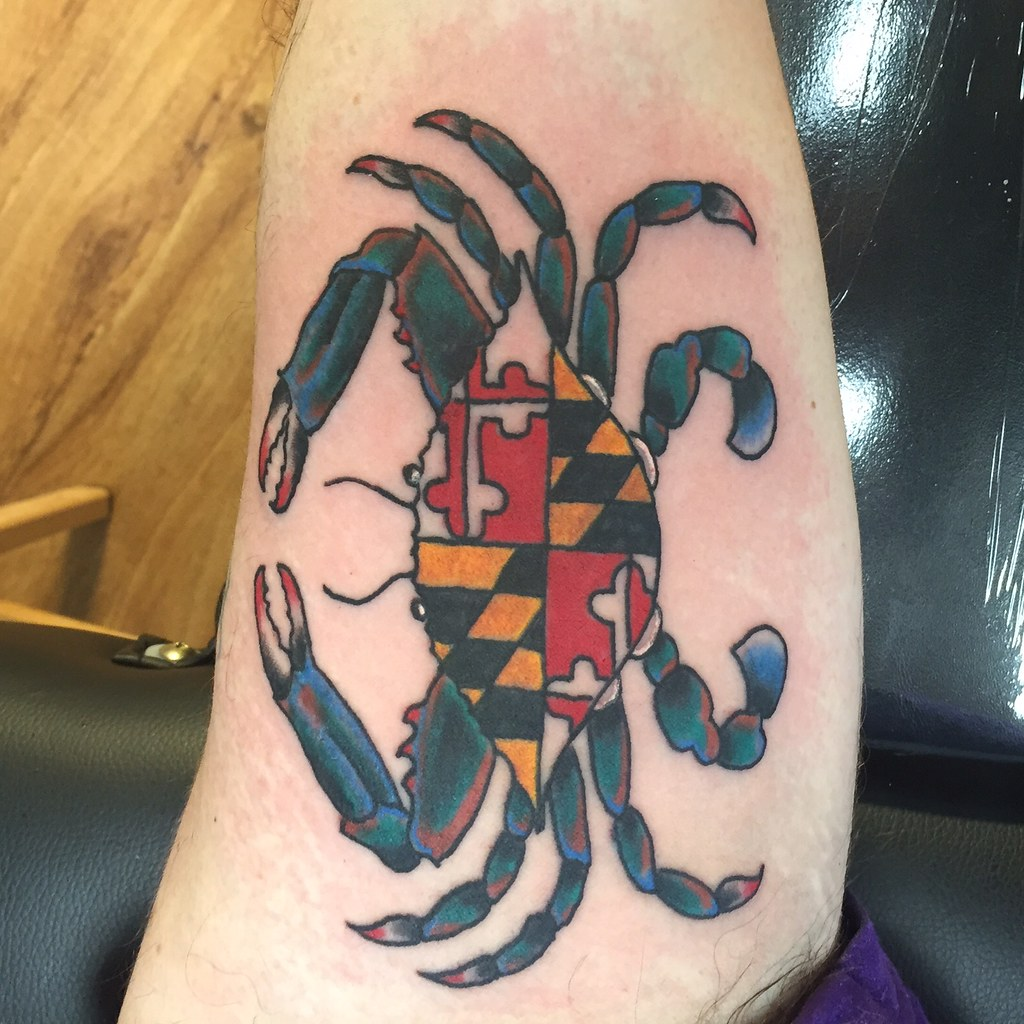 Maryland blue crab flag tattoo by keelhauled mike of black for Blue crab tattoo