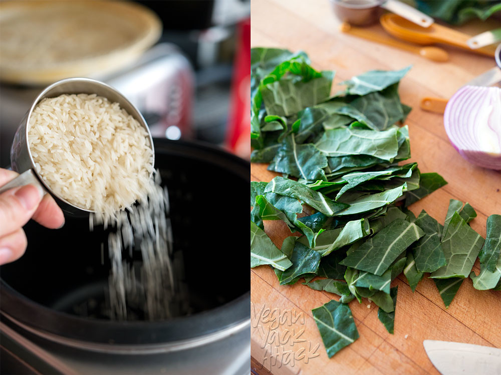 Rice being poured in a rice cooker, and fresh greens
