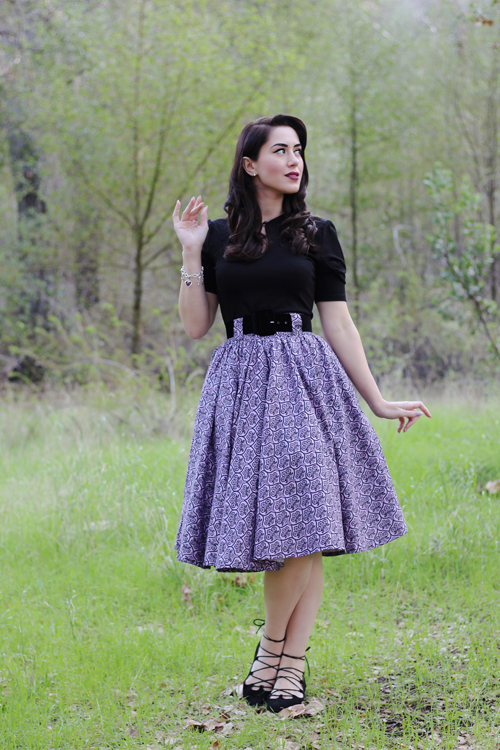 Lil Lou Lou Jivin' Skirt in Haunting Wallpaper Unique Vintage Voodoo Vixen Black Dita Teese Keyhole Stretch Top