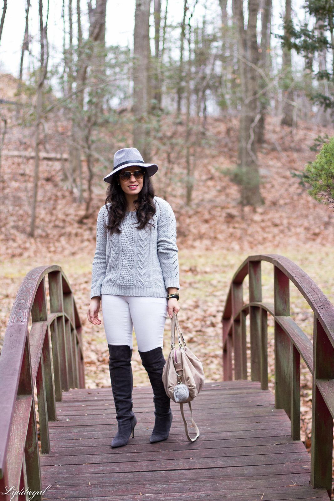 grey sweater, white jeans, over the knee boots.jpg