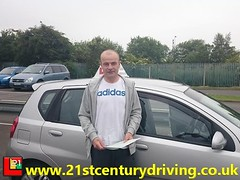 A single fault pass for Richard Jackson as he passes his driving test in grimsby with 21st Century Driving 20062015 branded