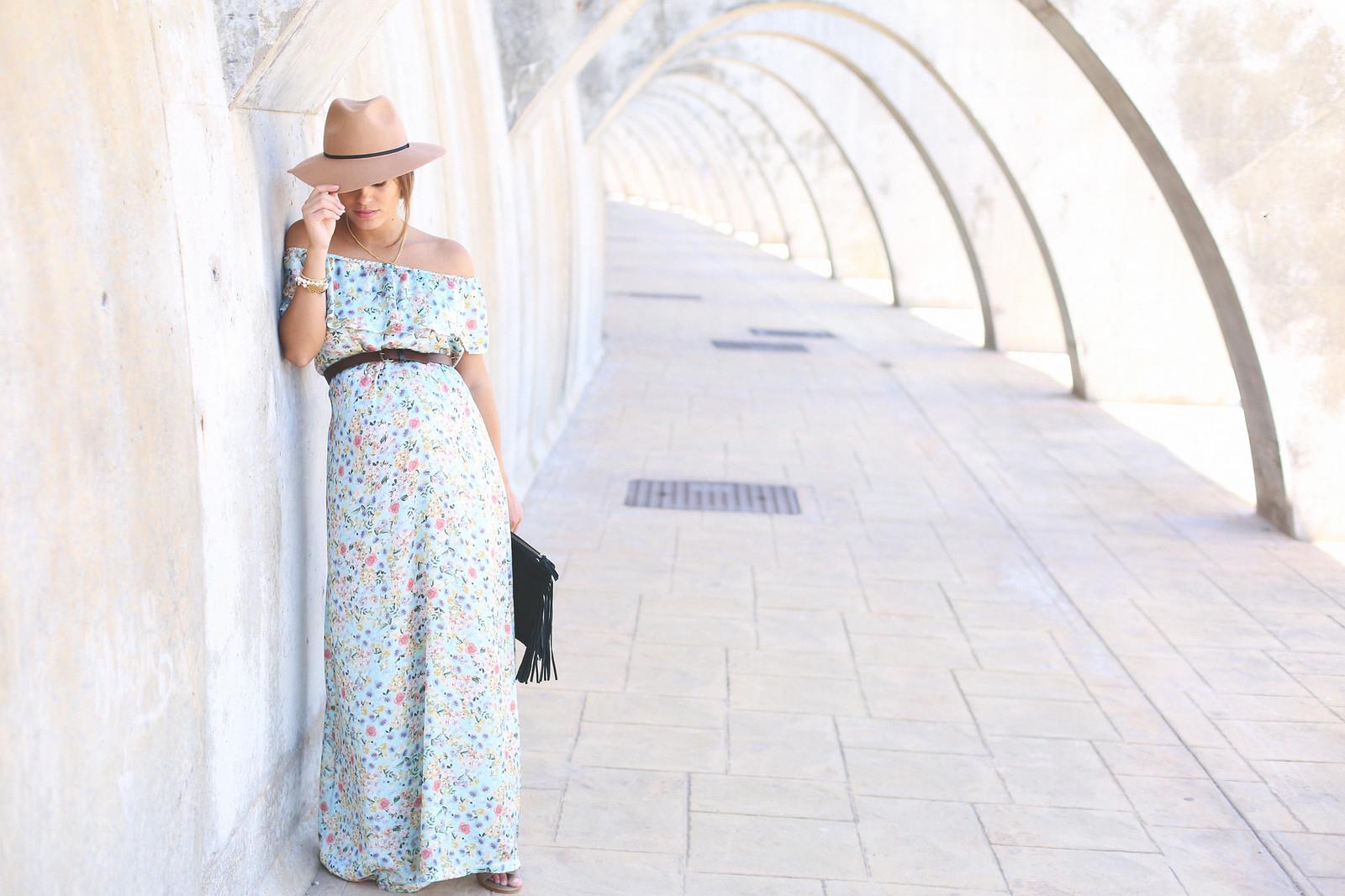 2. floral print long dress - jessie chanes - pregnancy