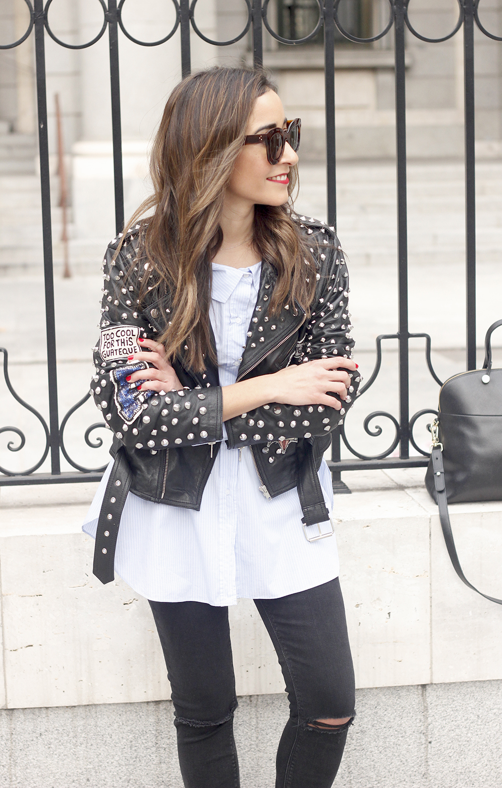 Leather Jacket With Studs And Patches ripped jeans heels furla bag céline sunnies19