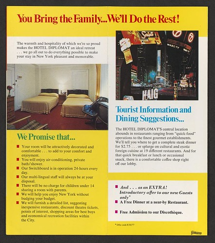 Circa 1970's Hotel Diplomat, NYC, NY (Brochure 003)