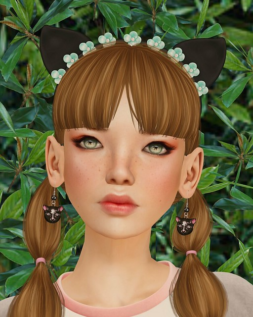 Imeka's kitty ears and earrings