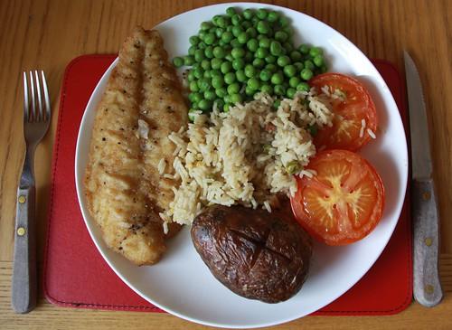 Baked fish rice potato peas bovine spongiform for Baked fish and rice