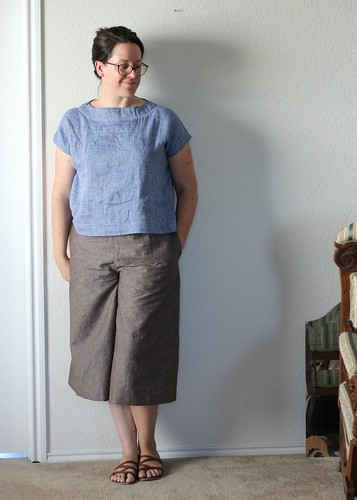 aug 11 style arc untucked with flip flops and culottes | by wandering spirit designs