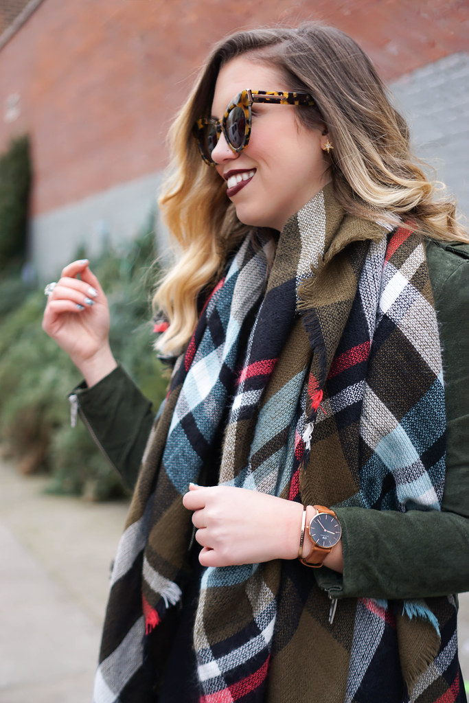 Daniel Wellington Classic Black Watch | Plaid Scarf | Blank NYC Olive Suede Moto Jacket | Casual Holiday Outfit