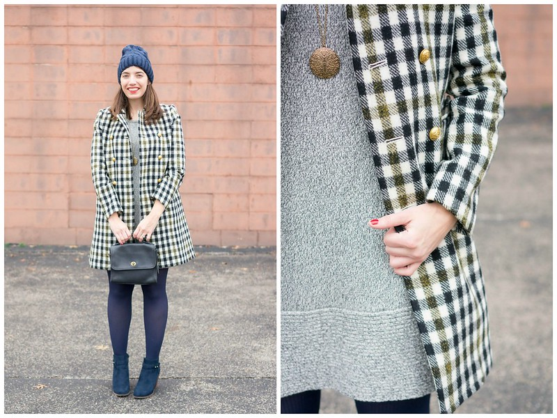 gray sweater knit dress + J.Crew oxford plaid coat + navy beanie + navy ankle boots; winter work outfit | Style On Target blog