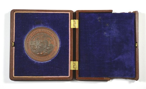1869 New York State Poultry Society Medal case inside