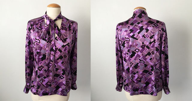 silk bow blouse front and back