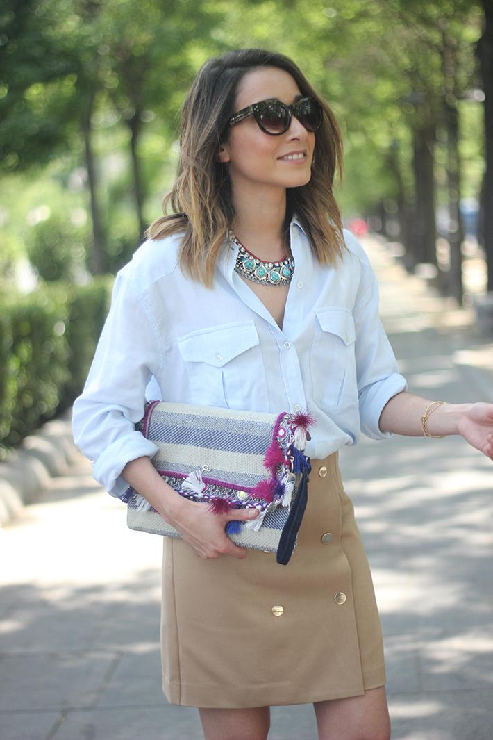 Beige Skirt With Blue Shirt05