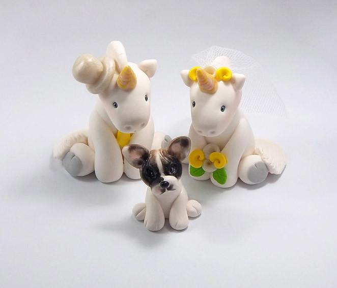 Unicorns French Bulldog Wedding Cake Topper