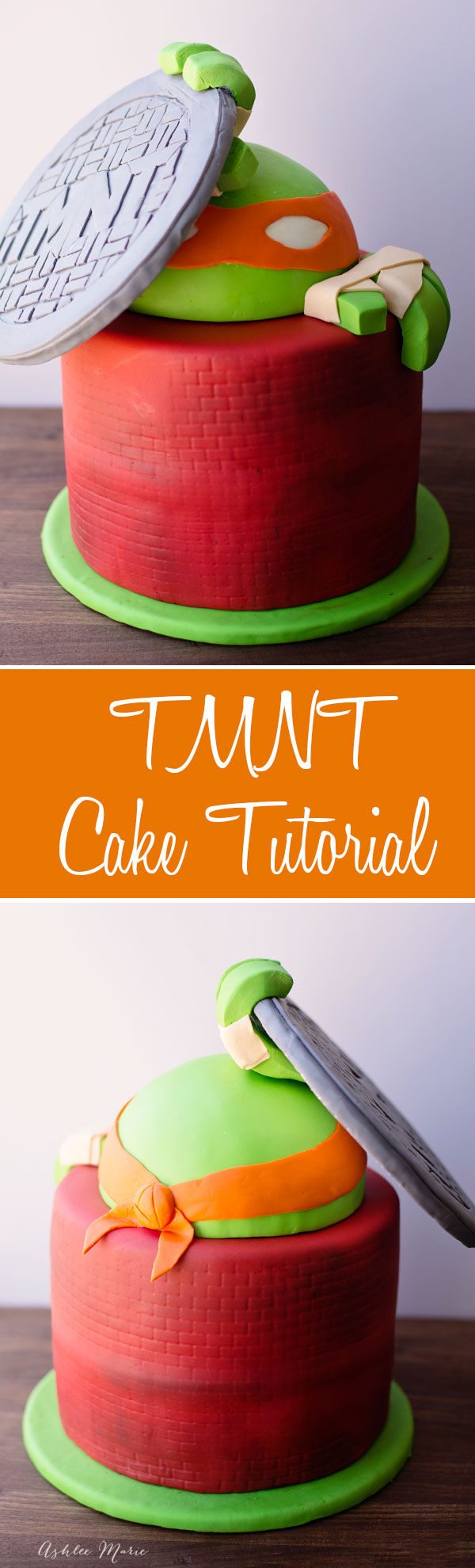 A full video tutorial for this Teenage Mutant Ninja Turtle Cake including the fondant manhole cover