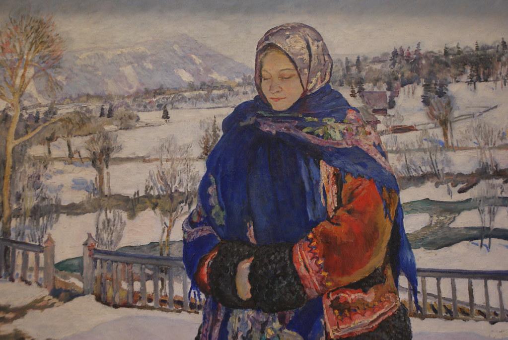 Tableau de Wladyslaw Jarocki - Sous le soleil hivernal des Carpates. Au musée des Beaux Arts de Lviv.