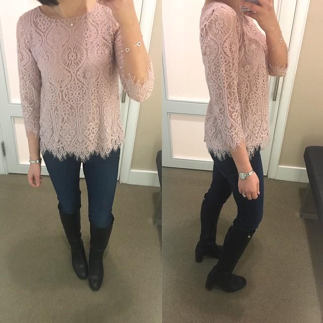 LOFT Long Sleeve Lace Top, size XSP