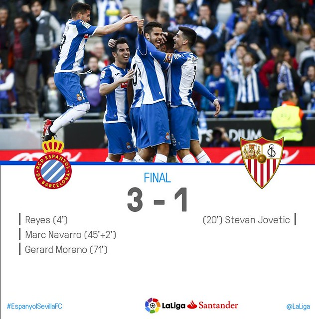 La Liga (Jornada 20): RCD Espanyol 3 - Sevilla FC 1