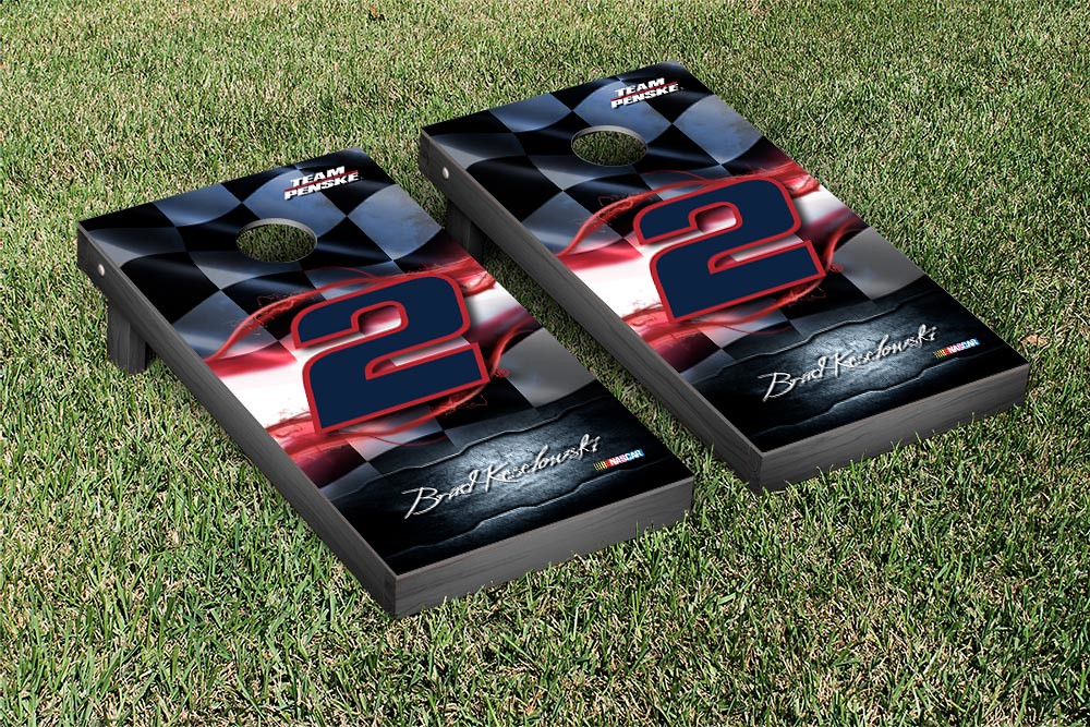 BRAD KESELOWSKI #2 CORNHOLE GAME SET RACING FLAG VERSION