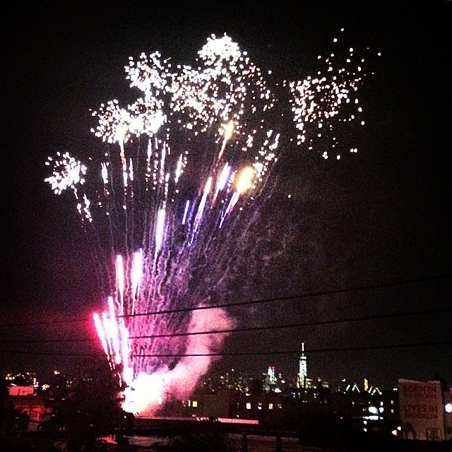 earlier tonight, illegally #fireworks #NYC #brooklyn #bushwickopenstudios #boom