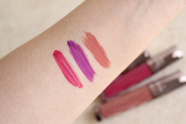 Urban Decay Revolution High Colour Lipgloss in Quiver, Bittersweet and Liar swatches