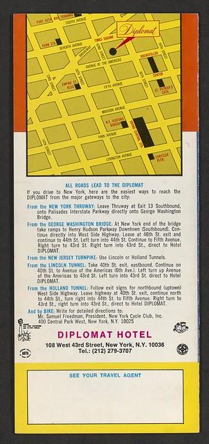 Circa 1970's Hotel Diplomat, NYC, NY (Brochure 005)