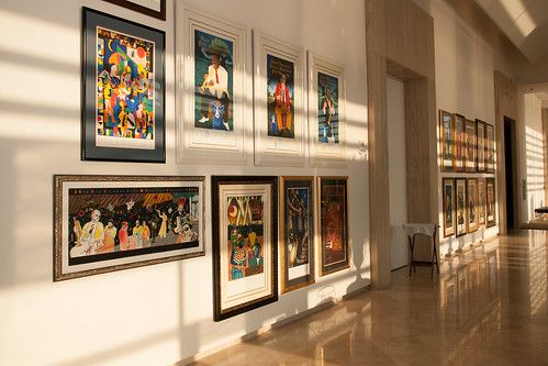 Sunlight covers the wall of the Grand Gallery during a temporary installation for a special event.