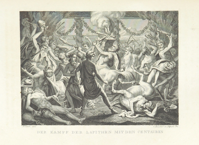 "Illustrations from ""The World Theater, or The Universal World History From Creation To The Year 1840, etc"" by C Strahlheim, 1834-41 - The Battle Of The Lapiths With The Centaurs"